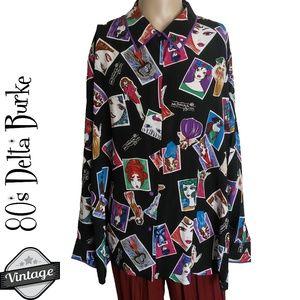 Vintage 1980s Signatures by Delta Burke Silk Shirt